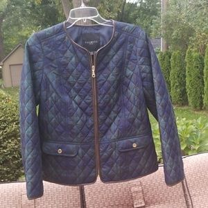 Talbots green plaid quilted jacket 10P